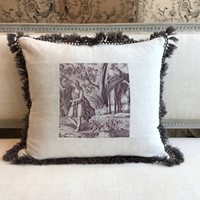 Antique Toile de Jouy cushion