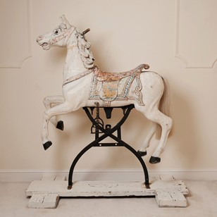 Rare antique carousel horse on original rocker
