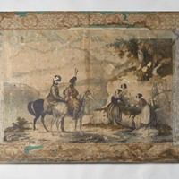 Large antique paper wall panel