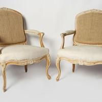 Antique French pair of fauteuil chairs