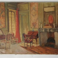 Antique interiors oil on canvas painting