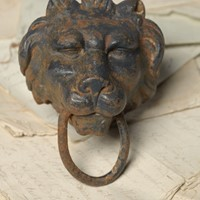 19th Century cast iron tethering lion head ring
