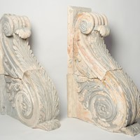 18th Century pair of huge French plaster corbels