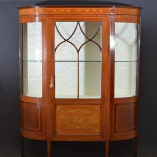 Elegant Edwardian Inlaid Display Cabinet