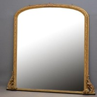 Exceptional 19th Century Gilded Overmantle Mirror