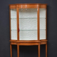 Victorian Satinwood Serpentine Display Cabinet