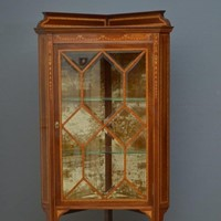 Edwardian Inlaid Corner Display Cabinet