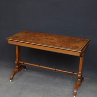 Victorian Walnut Library Table in the Manner of La