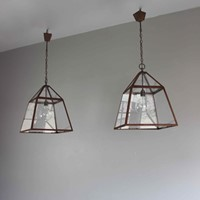 Pair of English country house kitchen lanterns