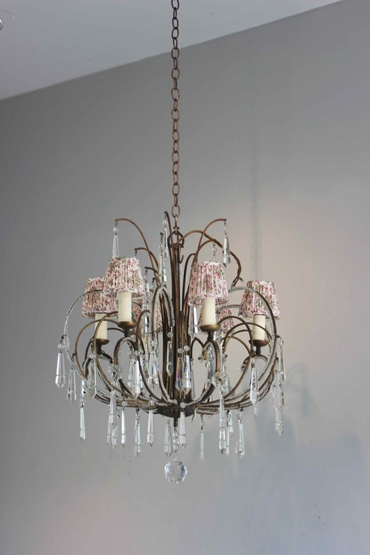 Pretty beaded short drop antique chandelier-norfolk-decorative-antiques-img-2544-main-637363045322482179.jpg