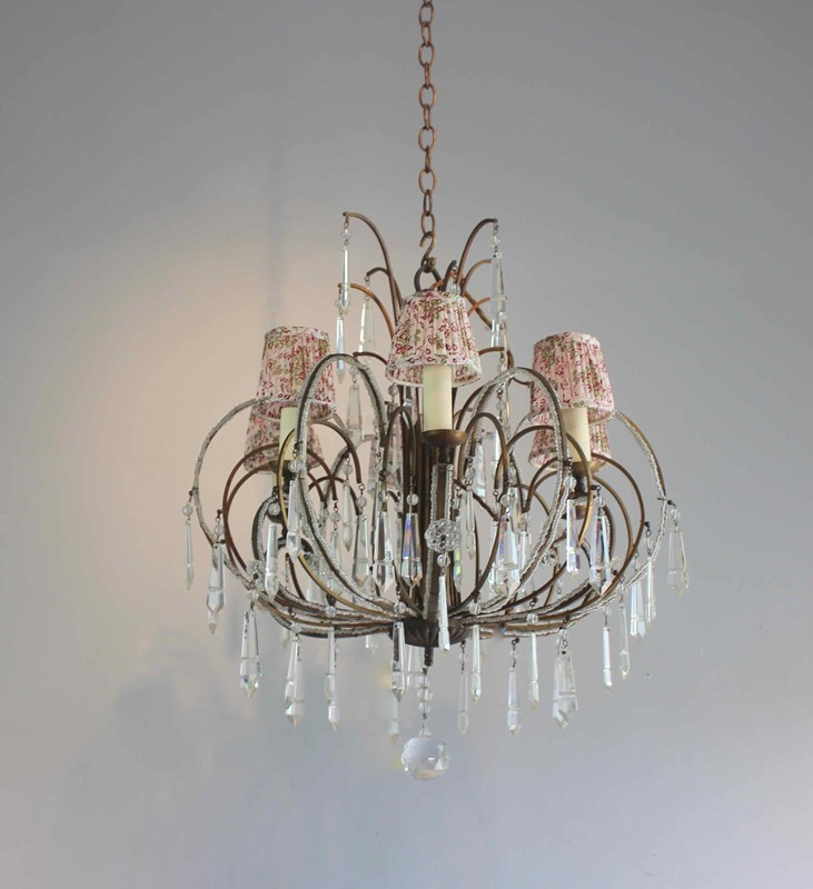 Pretty beaded short drop antique chandelier-norfolk-decorative-antiques-img-2548-main-637363045205763977.jpg