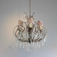 Pretty beaded short drop antique chandelier