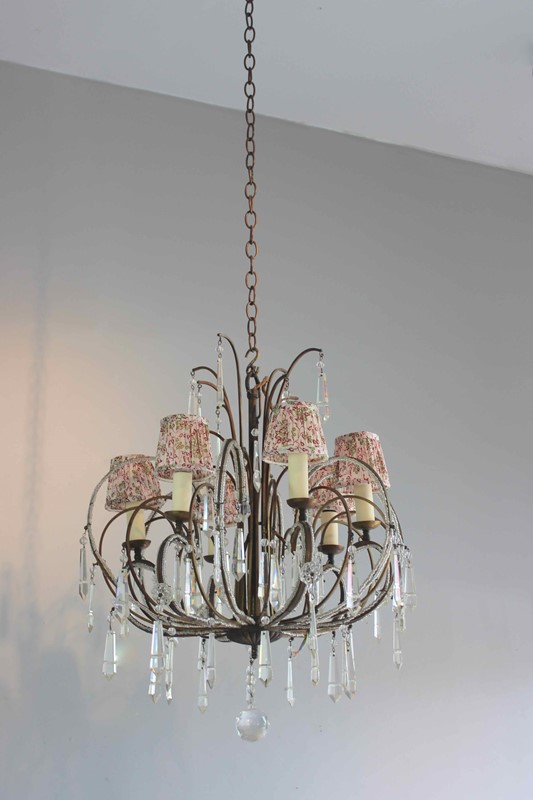 Pretty beaded short drop antique chandelier-norfolk-decorative-antiques-img-2551-main-637363045548579148.jpg