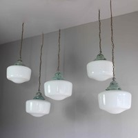 Set of 5 opaline pendants with verdigris tops