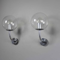 Pair mid century glass German outside lights