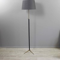 Leather covered adjustable height floor lamp