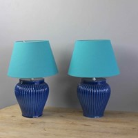 Pair of  Spanish blue mid centurytable lamps