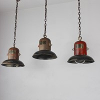 Set of 3 American 1930s hanging lights