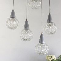 Set of 5 pressed glass industrial hanging lights