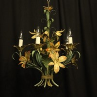 French Toleware 5 Light Flower Chandelier