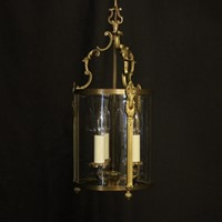 French Gilded Convex Antique Hall Lantern