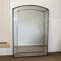 Mid 19th century arched Ventian mirror with delicate etching
