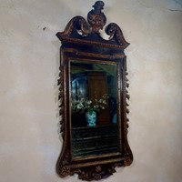 A Large George II Style Mahogany Gilt Wall Mirror