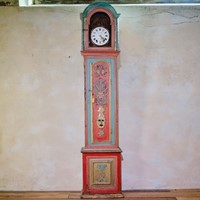 18th Colourful Painted Portuguese Longcase Clock