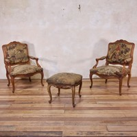 Pair Of 18th C Louis XV Fauteuils Tapestry Chairs