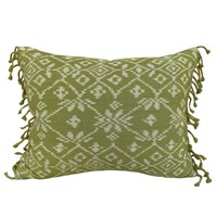 Rote ikat cushions, green with tassel fringe