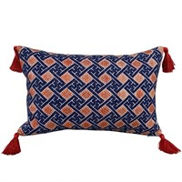 Indigo & Orange cushions with rust tassels