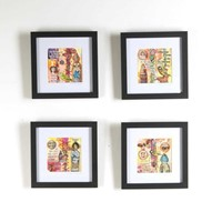 Set of Four Contemporary Collages in Mixed Media