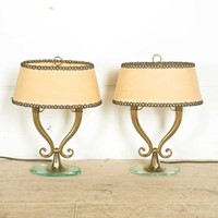 Elegant Pair Of Brass And Glass Lamps