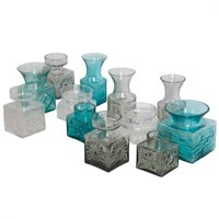 Collection of Dartington Glass Vases Frank Thrower