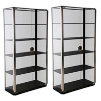 Pair of Glass and Chrome Cabinets by Mario Sabot
