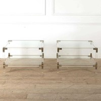 Pair Of Lucite and Chrome Side Tables