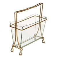 Magazine Rack in Brass and Glass by Cristal Arte