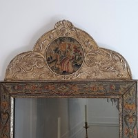 Queen Anne style needlepoint wall mirror