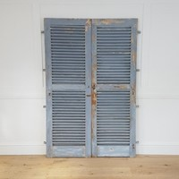 Pair of French blue louvered shutters / doors
