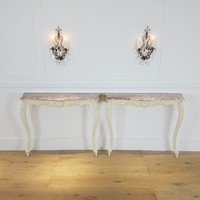 Pair of marble top painted consoles