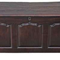 Georgian 3 panel oak mule chest