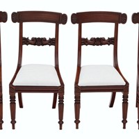 Set of 4 William IV mahogany bar back dining chair