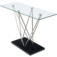 Modern glass, stainless steel and granite table