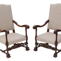 Pair of oak armchairs