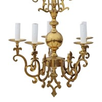 Vintage 5 lamp / arm ormolu brass chandelier