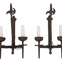 Pair of large 2 lamp wrought iron wall lights
