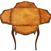 Folding marquetry centre table