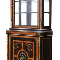 Amboyna and ebonised 2-part pier display cabinet