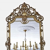 Antique large quality early 20th C brass mirror