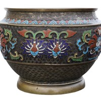Chinese bronze cloisonne planter bowl